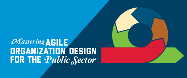 Text graphic - Mastering Agile Organization Design for the Public Sector with a multi-color loop