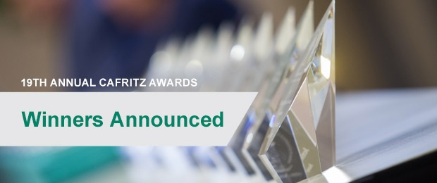 Close up photo of Cafritz Awards on a table with text overlay - winners announced