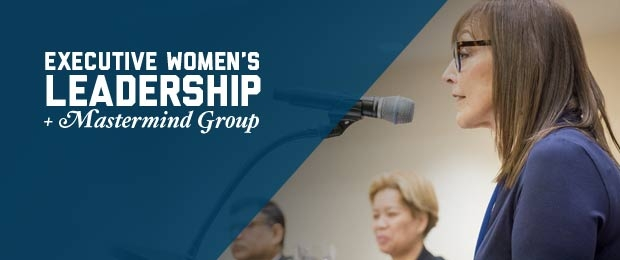 Graphic with Leslie Grossman at a podium and overlay text - Executive Women's Leadership Program