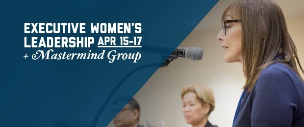 Graphic with Leslie Grossman at a podium and overlay text Executive Women's Leadership Program Apr 15-17