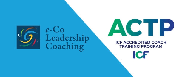 Graphic of two logos e-Co Leadership Coaching and ICF ACTP accreditation