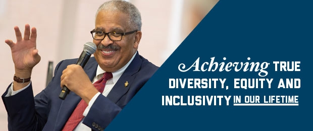 Jim Robinson seated with a mic with graphic text overlay- Achieving True Diversity, Equity and Inclusivity in Our Lifetime